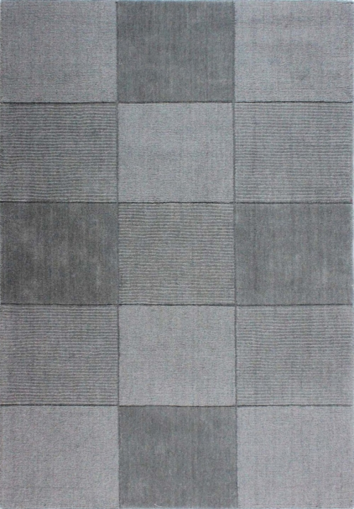Wool Squares Light Grey Rug