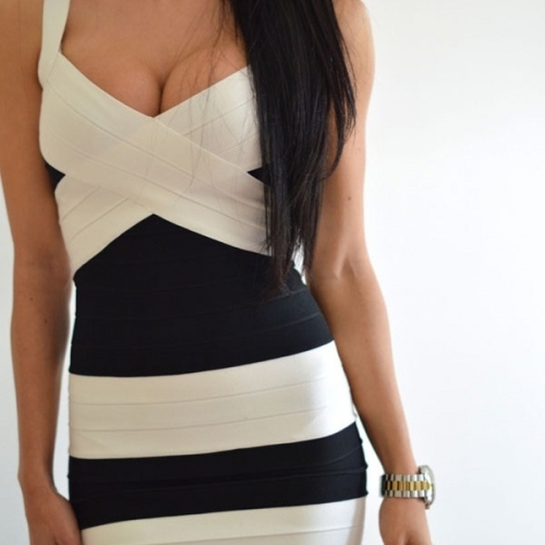 Black White Sexy Skintight V Neck Cocktail Bandage Dress