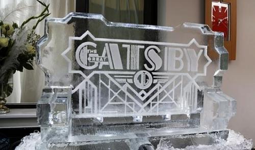 Great Gatsby Logo Ice Sculpture Vodka Luge