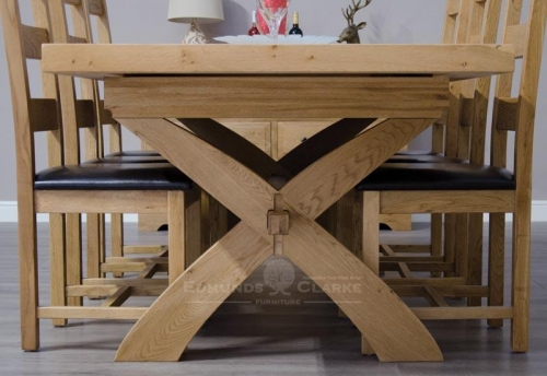 Melford Oak X-Leg Extending Dining Table