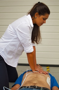 First Aider demonstration CPR and Defibrillator