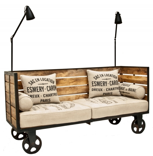 Industrial Steel & Mango Wood Sofa on Wheels