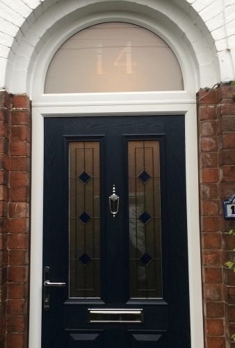 Composite Door with Arched Etched Glass