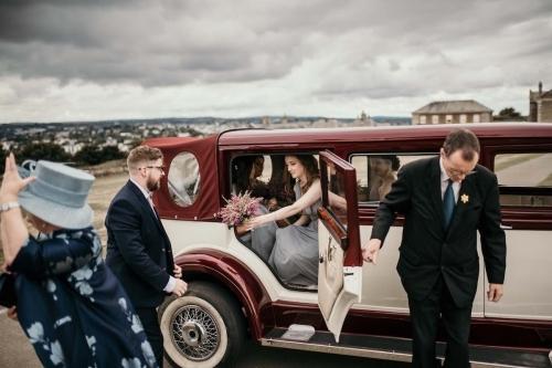 Wedding car arrives
