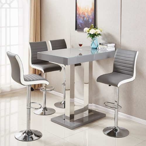 Caprice Glass Bar Table In Grey Gloss With 4 Ritz Stools